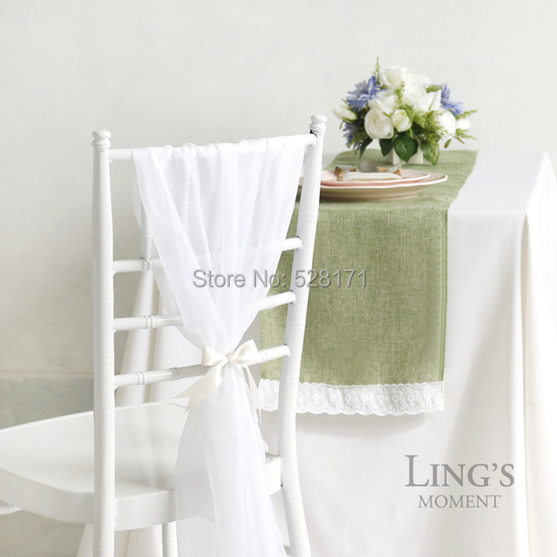 "Free Shipping 10pcs/lot 12"" W x108"" L Light Green Burlap Linen Table Runners with Cotton Lace For Wedding Party Table Decoration(China (Mainland))"