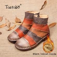 Tastabo Martin Stiefel Aus Echtem Leder Knöchel Schuhe Vintage Casual Schuhe Marke Design Retro Handgemachte Plus Größe Frauen Stiefel(China)