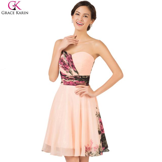 Короткие коктейльные платья 2016 грейс карин цветочные набивным рисунком империи ...