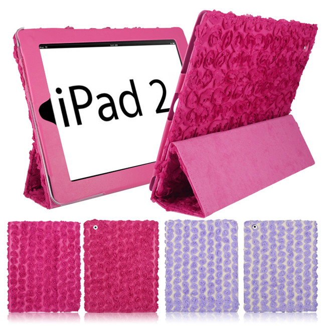 Wholesale Fashion Flower Pattern Smart Stand Cover for the Apple iPad 2/3/4 2nd 3rd 4th Generation(China (Mainland))