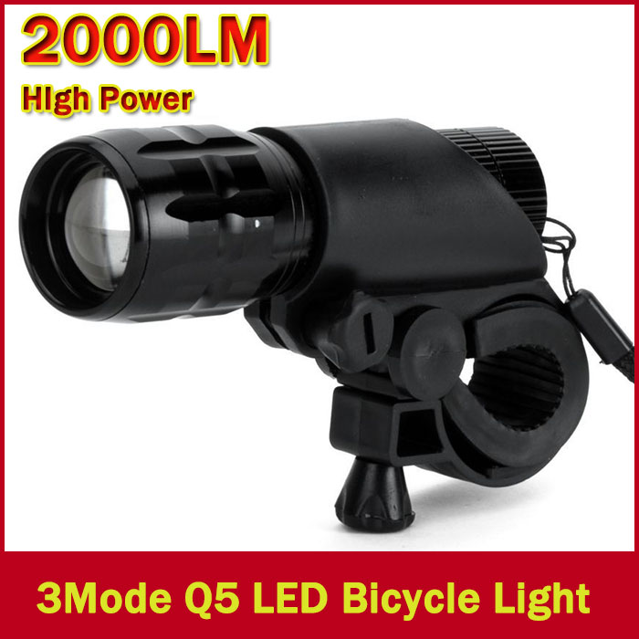New Bicycle Light 7 Watt 2000 Lumens 3 Mode CREE Q5 LED Bike Light Front Torch Waterproof + Torch Holder<br><br>Aliexpress