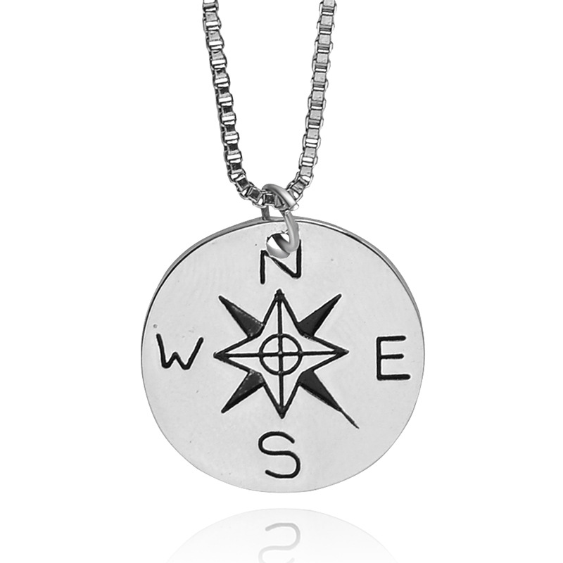 Not All Who Wander Are Lost Compass Necklace Find Your True North And South Direction Necklace Gift for Men Women(China (Mainland))