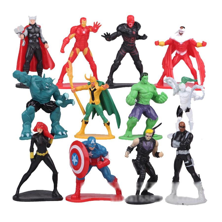 12pcs the avengers figurine Cake micro landscape ornaments set 2016 New Age of ultron Iron man Hulk Thor marvel de super heroe(China (Mainland))