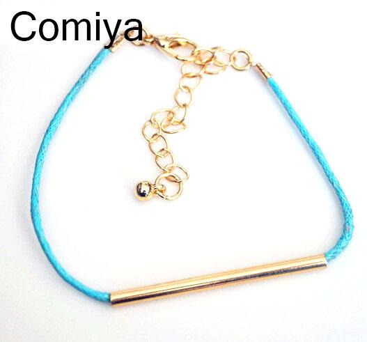 Summer style rope chain bracelet zinc alloy pendant gold plated friendship bracelets three colours pulseira feminina jewelry(China (Mainland))