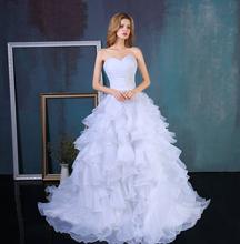 2016 Stock Corset Wedding Dresses Ivory White Robe de Mariee Organza Beaded Ruffled Cheap Bridal Gown(China (Mainland))