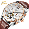 Relogio Masculino 2016 Men s Luxury Brand Military Mechanical Watches Leather Hollow Skeleton Watch Relojes Hombre