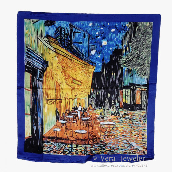 "100% Luxurious 12-momme Satin Charmeuse Silk Scarf Van Gogh's Painting ""Cafe Terrace at Night"" Square Scarf Wraps Hijab Red Blue(China (Mainland))"
