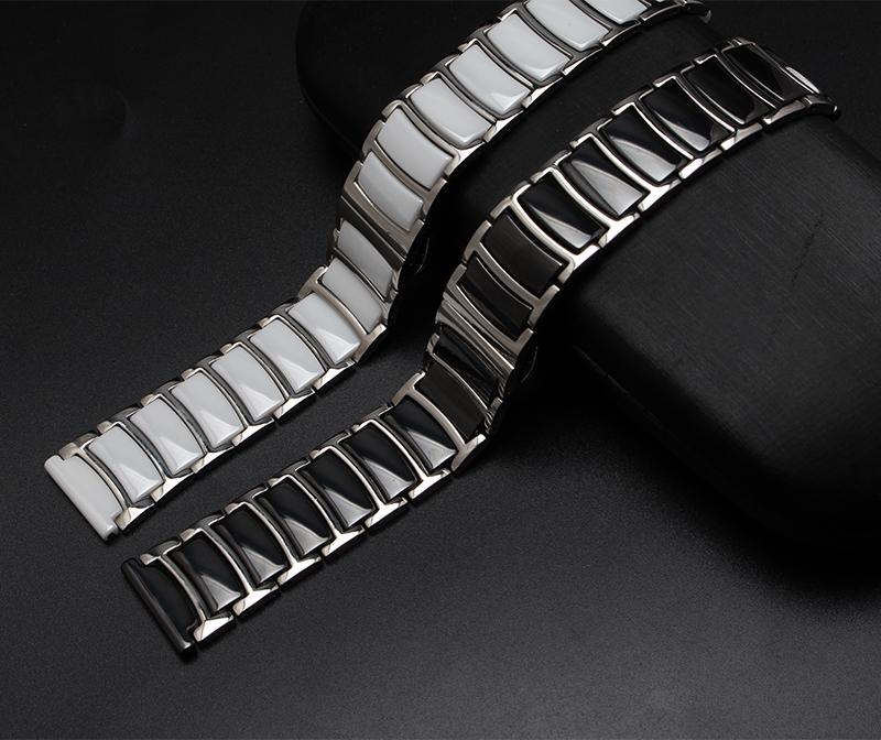 Здесь можно купить  20mm 22mm Black White Ceramic with stainless steel Watchbands straight End Solid Links Diamond Watch Accessories General Bands   Ювелирные изделия и часы