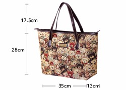 Lovely Bears Printing Ladies Stylish Tote Bag Contrast Color Trendy Fashion Cheap Hand Bag Women Grey Red Canvas Shoulder Bag