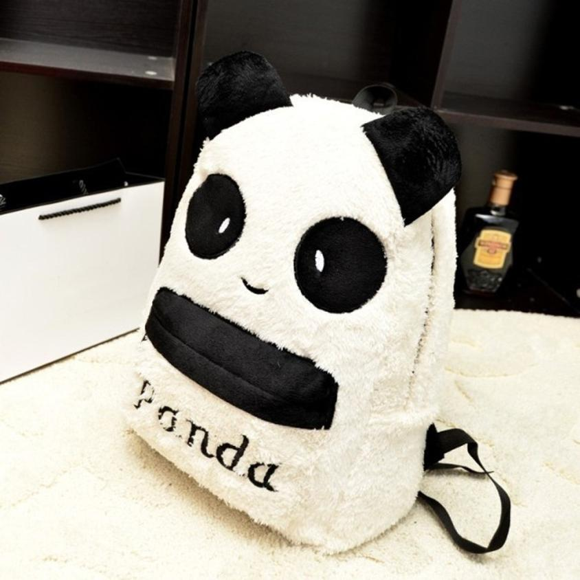 Mint Panda Backpack Cute Bag Purse Animal Soft Ears Pom Poms Furry Zippers Bag May10