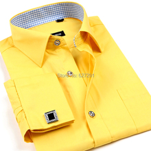 French cuff button Formal Dress shirt High Quality Non Iron Long Sleeve Shirt Mens solid colour Printed Dobby Business Shirts(China (Mainland))