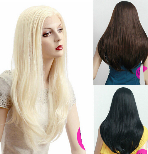 002283 Blonde Brown Black Long Straight Lace Front Wig Hair Cosplay Wigs can choose<br><br>Aliexpress