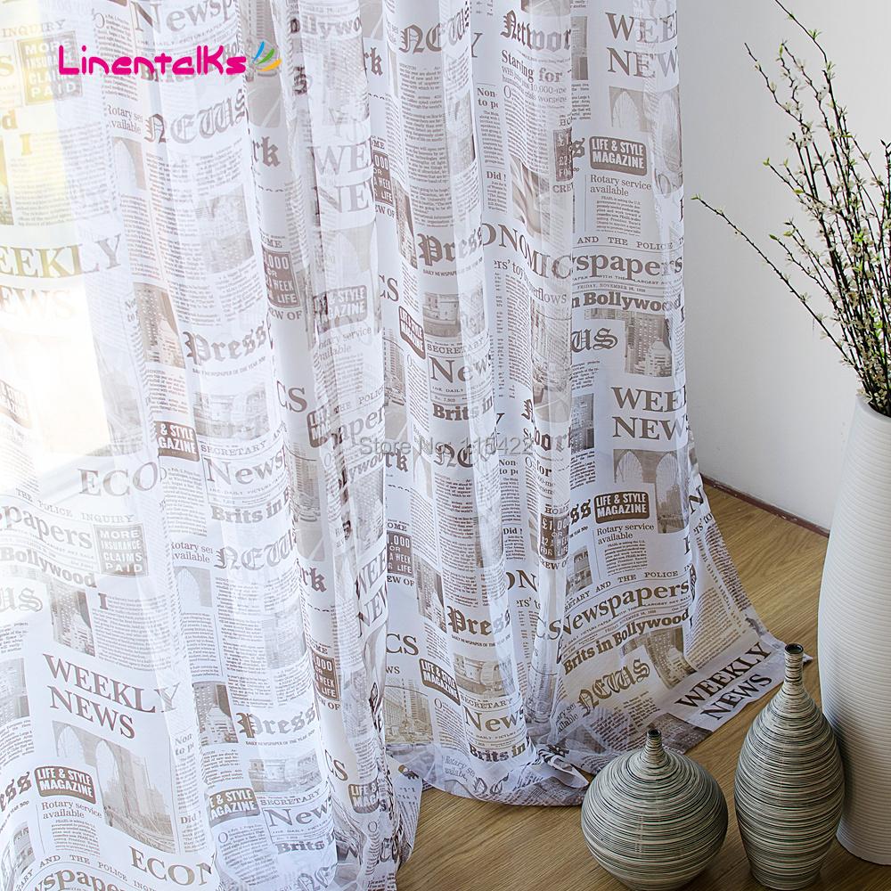 Modern newspaper window screening bedroom curtain yarn living room sheer curtain(China (Mainland))