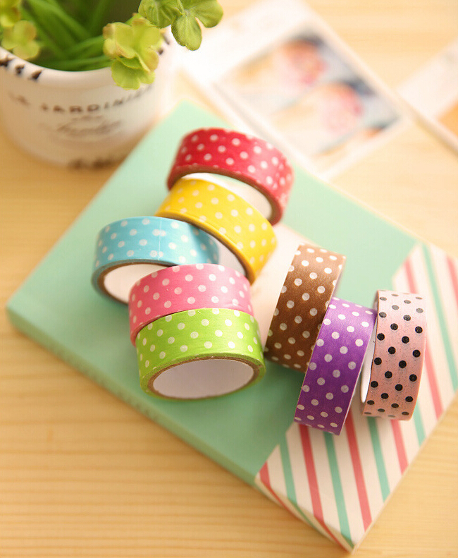 produto 1X Polka Dots DIY Washi Fita Stationery Decorative Decor Masking Adhesive Tape Scrapbooking Sticker Articulos De Papeleria