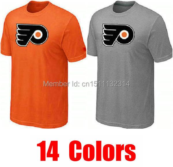 free shipping Philadelphia Flyers t-shirt team hockey spring autumn summer tee custom jersey casual red green orange clothing(China (Mainland))