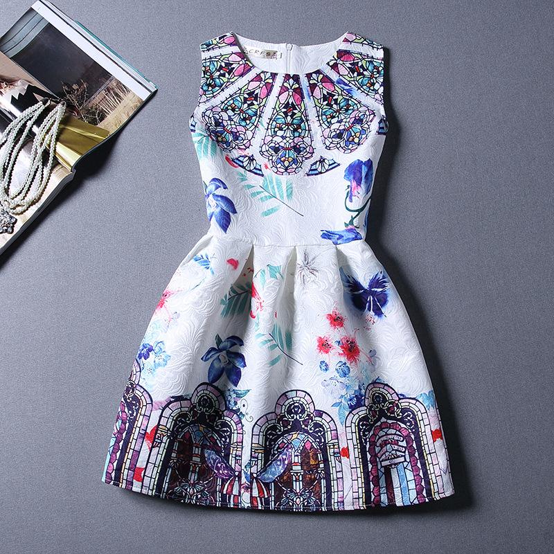 5-12yBaby Girl Dress 2016 Spring Kids Dresses for Girls Costumes Designer Princess Dress Floral Print Cotton Dobby Kids Clothes(China (Mainland))