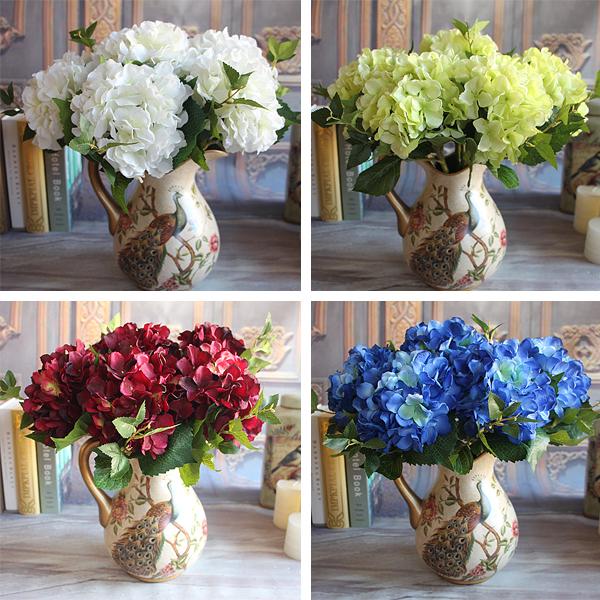 Wine Red Rose Floral 1 Bouquet Artificial Silk Peony Flower Arrangement Hydrangea Wedding Decor DIY(China (Mainland))