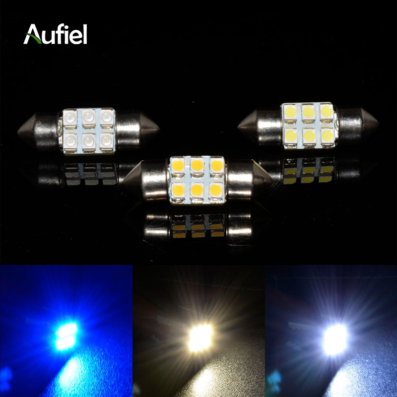 10x 6 smd led car interior festoon dome bulb light warm white 28mm c5w led festoon chip board. Black Bedroom Furniture Sets. Home Design Ideas