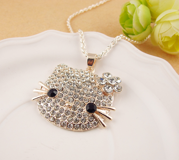 Free Shipping New Arrival Hello Kitty Pendant Necklace in Pink ,White Flower Wholesale For Summer Jewelry Gift Of Fine Jewelry(China (Mainland))
