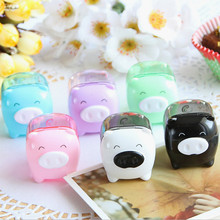 New Arrival Colorful Transparent Cute Pig Mechanical Kawaii Pencil sharpener for Kid High Quality School Supply, Free Shipping(China (Mainland))
