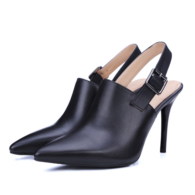 cow leather pointed toe slingbacks pumps buckle genuine leather women shoes high thin heels dress shoes sizes 22cm-24.5cm<br><br>Aliexpress