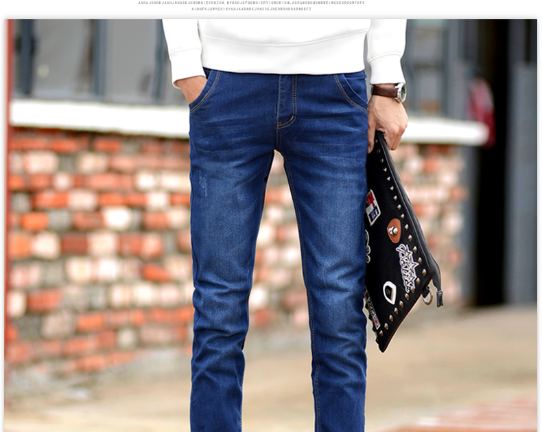 2016 Limited Zipper Fly Light Cotton Mid Softener Pencil Pants New Men's Clothing Slim Stretch Jeans Trousers Casual Pants J123