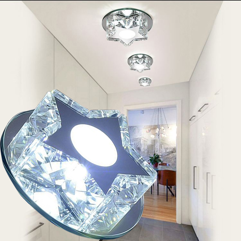 LAIMAIK Crystal LED Ceiling Light 3W star LED Aisle Light 90-260V Led Crystal Light Modern Led Ceiling Lights for Living Room(China (Mainland))