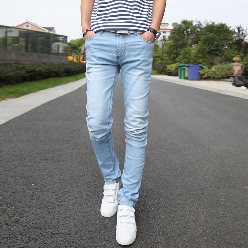 light denim skinny jeans men jeans to
