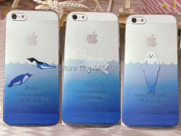 Marine animal case For iPhone 5 5G 5S /6 6G /6 plus case Seals/Penguin/polar bear TPU Soft case Mobile Phone case SJK0481(China (Mainland))