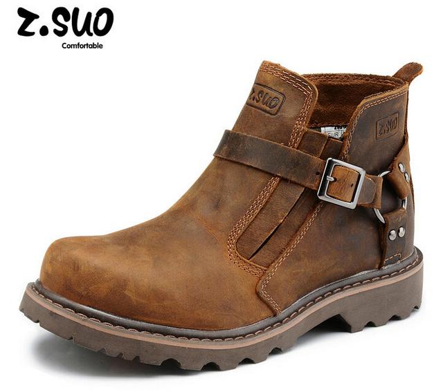 Ретро мода мужчины полный зерна кожаные ботинки из натуральной кожи рабочие ботинки ...