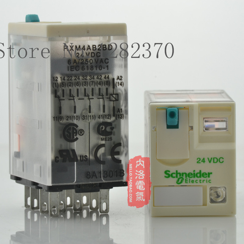 [ZOB] Authentic original relay 24V RXM4AB2BD 6A DC24V 4 open four closed 14 foot manual test lever --10pcs/lot(China (Mainland))