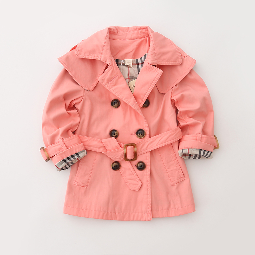 Toddler Girl Casual Solid Outerwear Double-breasted Trench For Baby Kids Long Belt Style Coat Plaid Children Clothing 5pcs/lot<br>