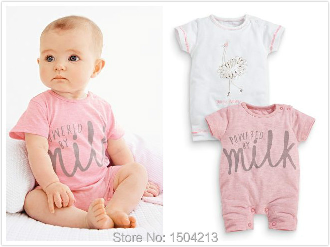 2015 baby girl summer pink + white swan pattern short-sleeved baby clothing coveralls piece pants baby rompers free shipping(China (Mainland))