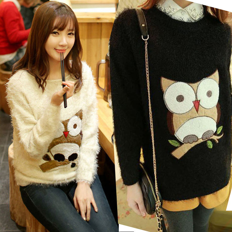 Thick Warm Women Winter Mohair Sweater Print Owl Long Sleeve Knitted Outerwear Pullovers Fashion Loose Casual Wool Tops Clothing(China (Mainland))