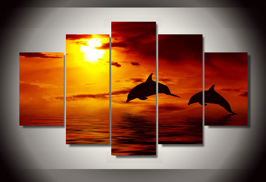 Framed printed ocean sunset dolphin picture painting wall art room decor print poster picture - Trendy kamer schilderij ...