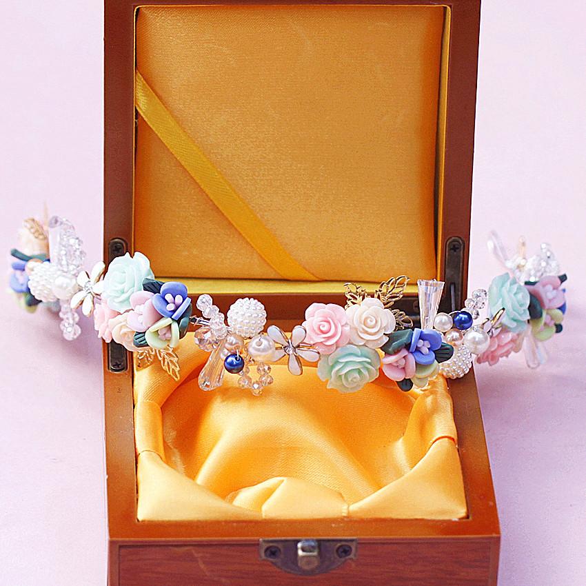 Pretty Flower Wedding Tiara Handmade Bridal Pearl Headband Women Hair Jewelry Party Headpiece<br><br>Aliexpress