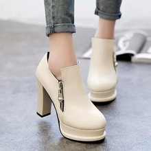 Top Quality Faux Leather Shoes Women High Heels Sexy Pointed Toe Heeled Fashion Zipper Lady Pumps Heels Shoes Size 35-39(China (Mainland))