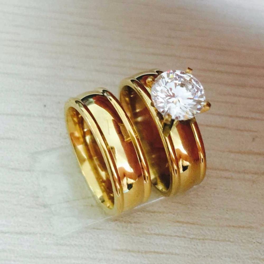 Large CZ diamond 18K gold filled Real Love Couple Ring Wedding Rings Engagement pair Rings for men women(China (Mainland))