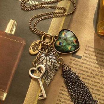 Sunshine store jewelry wholesale peacock /  heart / key tassel necklace X102