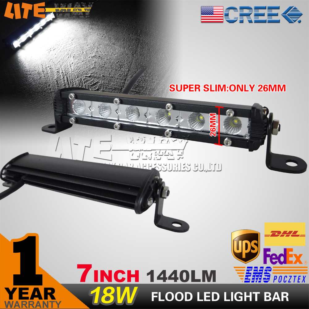 """1440LM Most Slim 7"""" Inch 18W 12V CREE LED Work Light Bar LED Work light Lamp for Boating / Hunting / Fishing(China (Mainland))"""