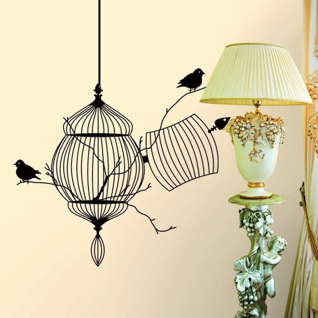 Птицы флягодержатель ветке дерева творческий современный виниловые наклейки съемный гидроизоляционная дома на стены гостиной украшения