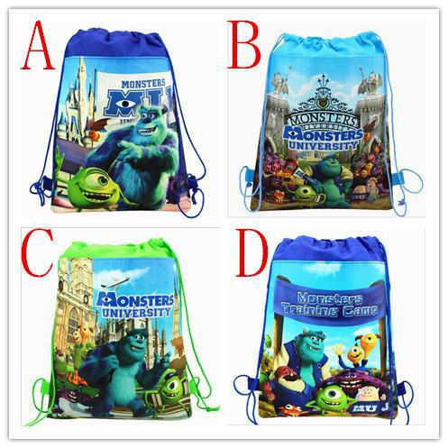 monsters university cartoon non-woven fabrics drawstring backpack,schoolbag,shopping bag(China (Mainland))