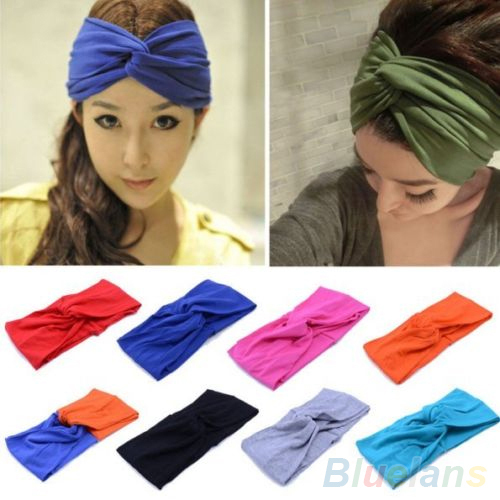 Women's Sports Elastic Turban Twisted Hair Band Head Wrap Sweatband Headband 2MWJ(China (Mainland))
