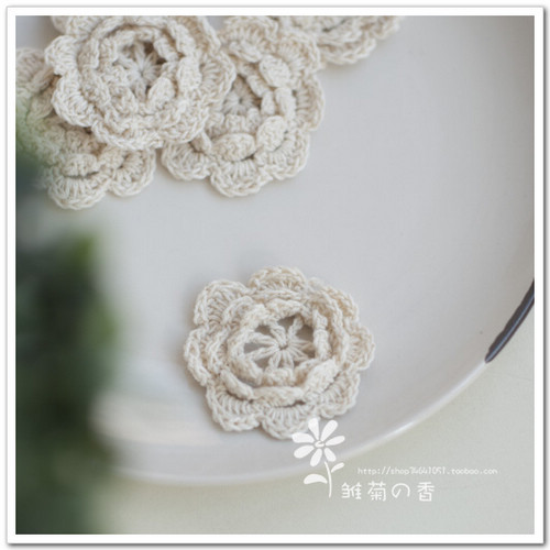 Diy handmade accessories tools clothes accessories 5cm diameter beige cotton thread decoration small crochet applique fabric(China (Mainland))