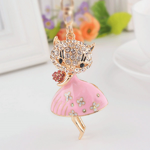 Free Shipping Creative Novelty Llaveros Keychain Rhinestone Heart Enamel Fascinating Cat Pendant Keyring Charm Trinket For Women(China (Mainland))