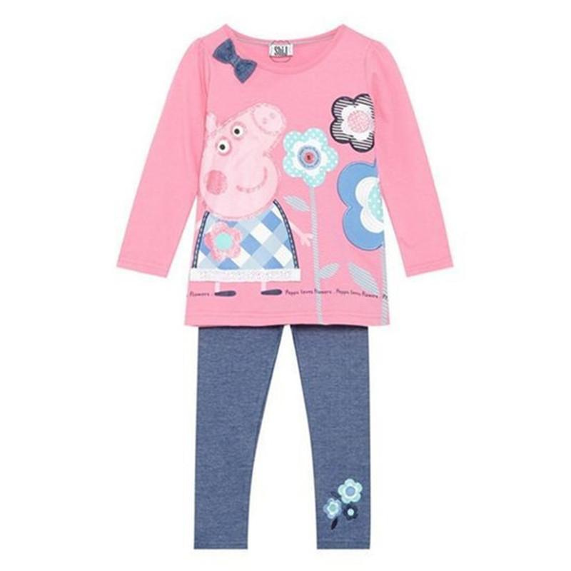 retail 2014 spring autumn baby girls set peppa loves flower kid apparel pink suit 3~11age long sleeve t shirt+pants(China (Mainland))