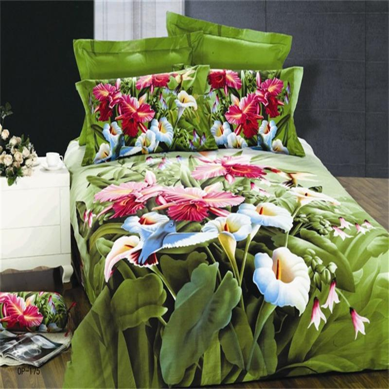 Здесь можно купить  Colored Floral Calla Lily Iris Hummingbird Green Bedding Set Queen High Quality Diagonal Cotton Pillowcase Quilt Cover Bed Sheet  Дом и Сад
