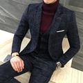 3 Piece Suits Men British Latest Coat Pant Designs Royal Blue Mens Suit Autumn Winter Thick
