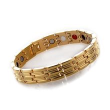 stainless steel heart chain gold men energy magnetic therapy titanium germanium health bracelet rhinestone numbers wholesale(China (Mainland))