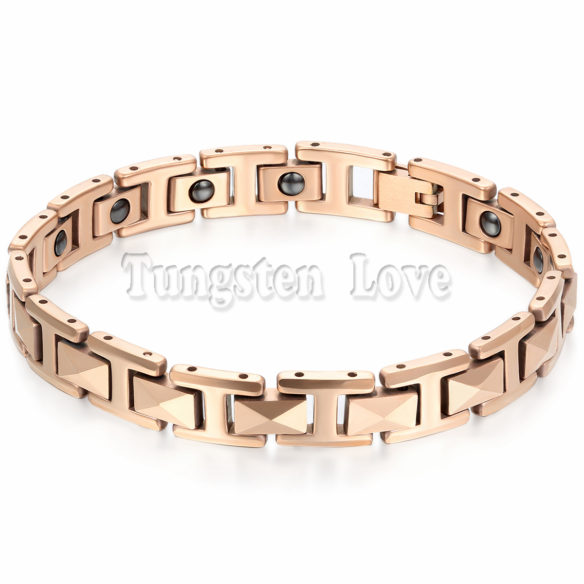 "7.6"" Cool Rose Gold Man Stereoscopic Tungsten Bracelet Health Balance Bracelet With Energy Magnetic Stone Inlay pulseras hombre(China (Mainland))"